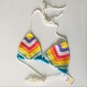 Bar III Rainbow Crochet Bikini Top